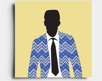 African Print Gent - Greetings Card - Yellow