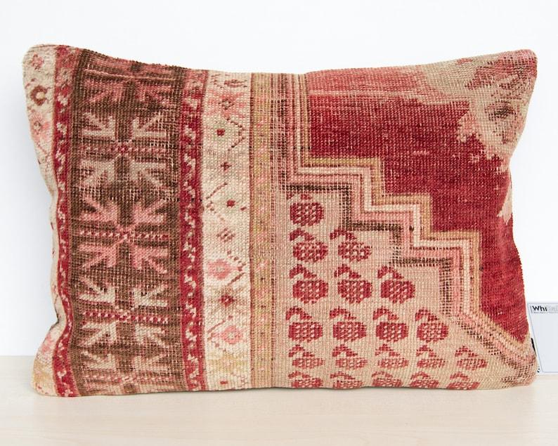 14x20 35x50cm Decorative Carpet Pillow Cushion cover made from Vintage Turkish Anatolian Rug E0014U
