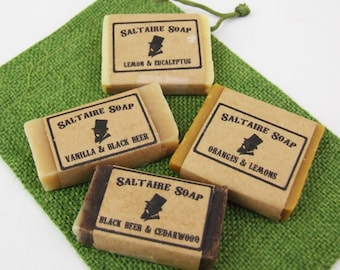 FOUR Mini 13g tester sample guest hand soaps, handmade natural cold process, pick your scent