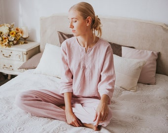 7a9964905e Pink Linen Pajama