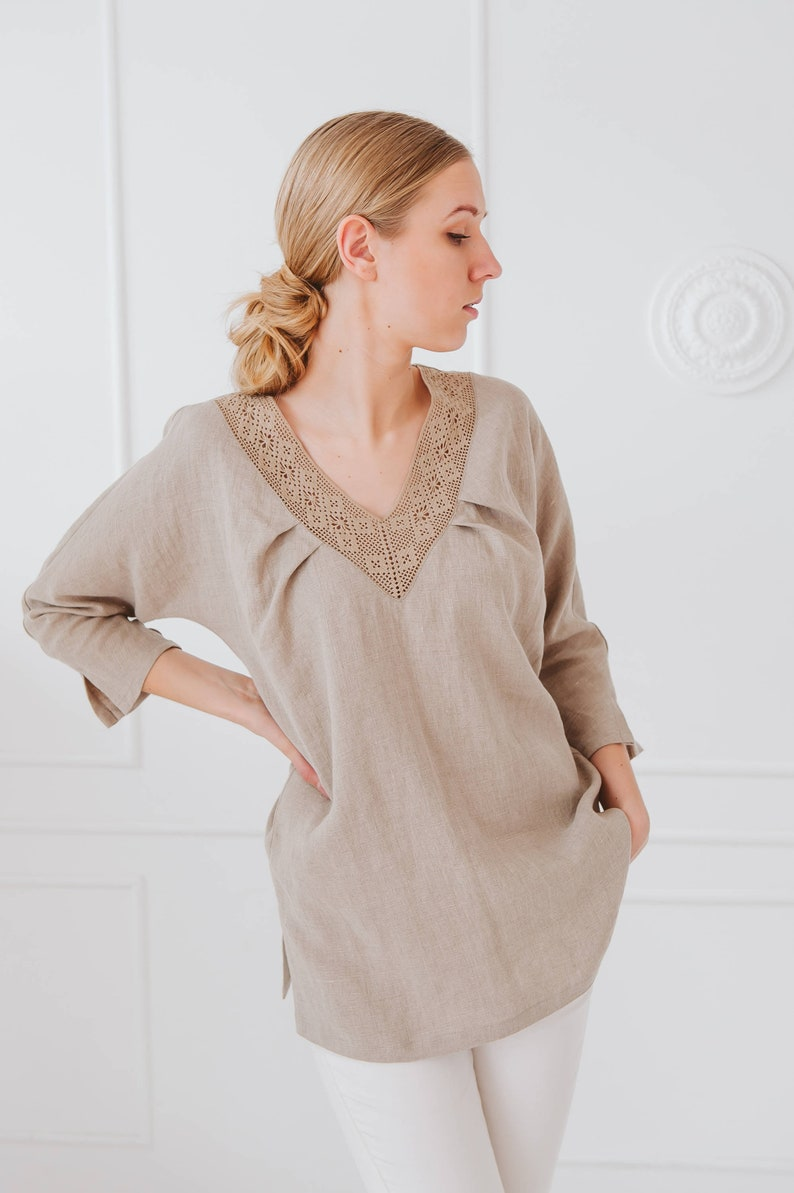 4978a4e62b8 Handmade Linen Tunic  Long Sleeves  Handmade Lace Decoration