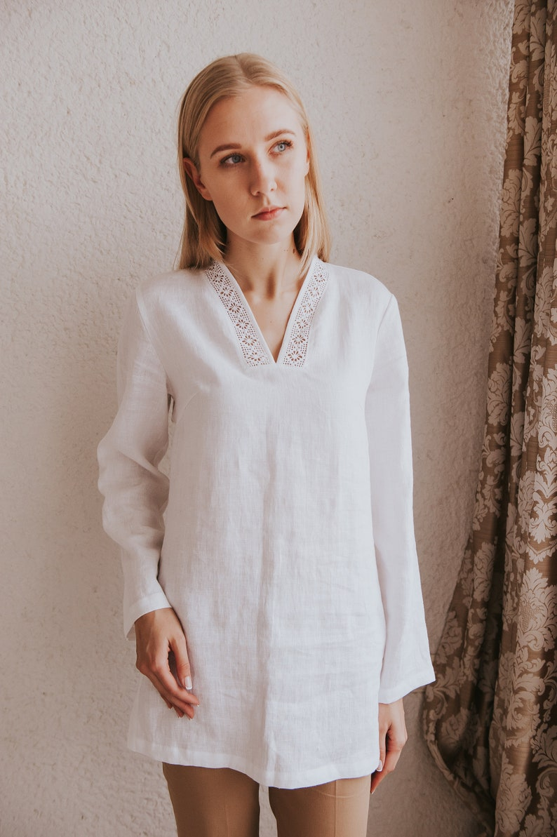 e92ec39cc71 Simple Linen Tunic For Women Oversized Summer Top Loose Fit   Etsy