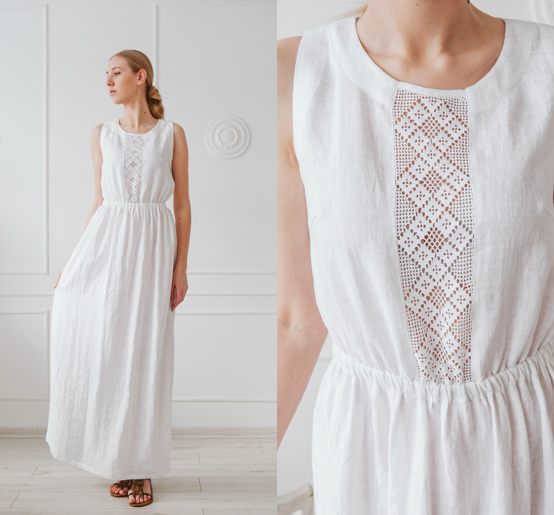 White Linen Maxi Dress Boho Wedding Dress Long Dress For Etsy