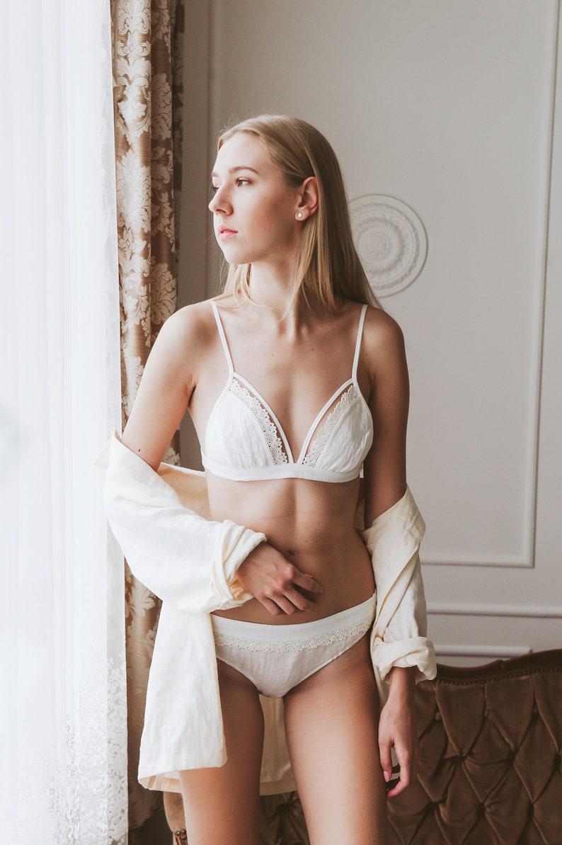 fd328fd08 White Linen Bralette With Lace Sexy Bridal Bra Lingerie