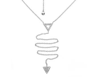 925 Silver Lariat Necklace with triangle Shape