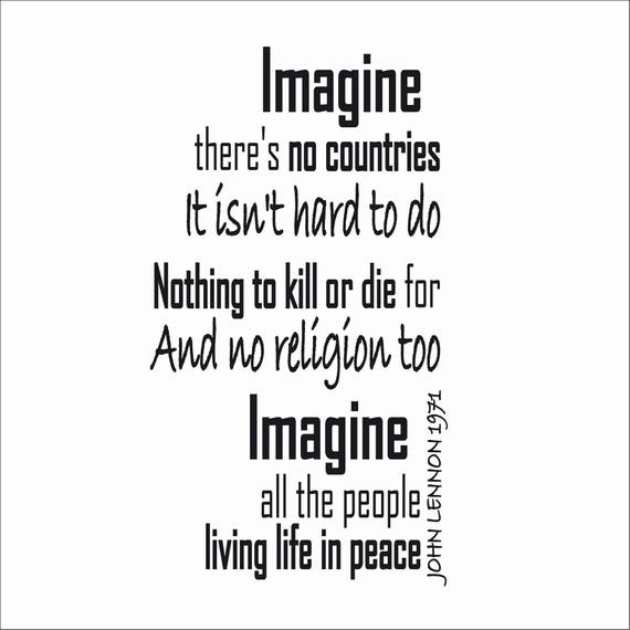 Imagine John Lennon Sticker Mural Paroles De Chanson