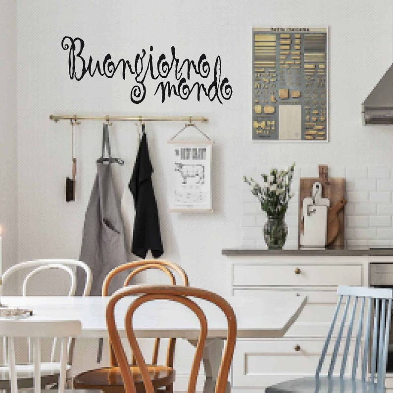 Wall Stickers Mondo.Good Morning World Sticker Lettering Wall Decal Italian Word Decal Letters Shabby Decor Window Sticker Sticker Word Art