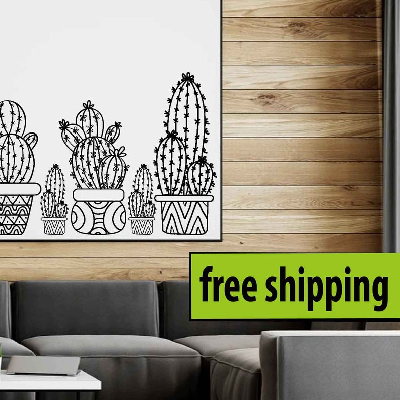 cactus set 5 pieces wall sticker cactus wall decal window | etsy