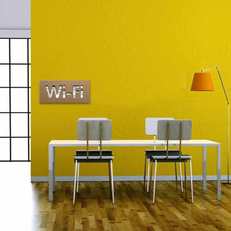 d8284d4a46d5d WI-FI sign letters in CARDBOARD. Social media decor for shop, restaurant or  kitchen. Geeky nerd or internet lover gifts. Inlay and collage