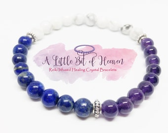 Anxiety & Stress Relief | Amethyst | Lapis | Howlite| Reiki Infused Crystal Stretch Bracelet | 6mm Beads | Inner Peace/Healing
