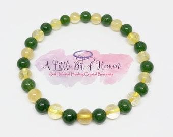 Diabetic Support | Citrine & Jade Reiki Infused Healing Crystal Stretch Bracelet | 6mm Beads | Diabeties | Luck | Happiness