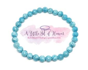 Larimar Reiki Infused Healing Crystal Stretch Bracelet | 4, 6, 8mm Beads | Dominican Republic | Head & Neck Pain | Self-Healing