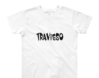 Travieso Youth Short Sleeve T-Shirt 8-12yr / Troublemaker Travieso Spanish Bilingual Kids Tee
