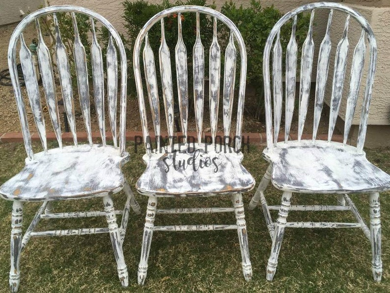 Farmhouse Kitchen Chairs * Grey * White * Distressed * Shabby * Rustic *  Arrowback * Kitchen * Dining * Wood