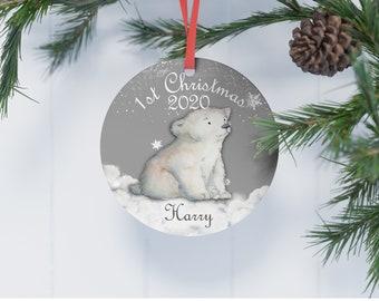 Christmas Keepsake Tree Decoration Personalised Polar Bear Ceramic Star Decoration