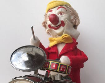 Vintage Clown Drummer Battery Operated ALPS Toy