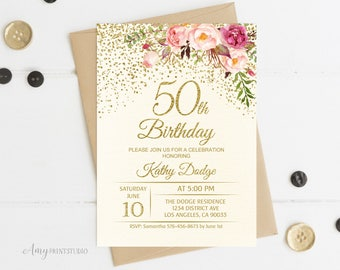 50th birthday invitations etsy 50th birthday invitation floral ivory birthday invitation cream birthday invite personalized digital file w56 filmwisefo