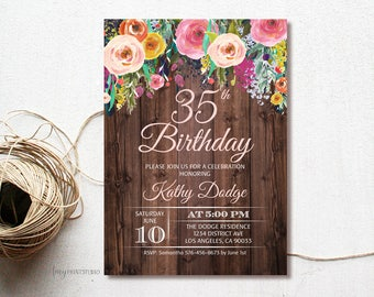 35th birthday invite etsy 35th birthday invitation rustic floral birthday party invitation floral wood invitation rustic invite personalized digital file w75 filmwisefo