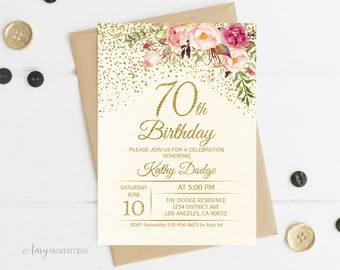 70th Birthday Invitation Floral Ivory Cream Invite PERSONALIZED Digital File W56
