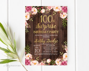 100th birthday invitations etsy 100th birthday invitation surprise birthday party invitation floral wood invitation rustic invitation personalized digital file w25 filmwisefo