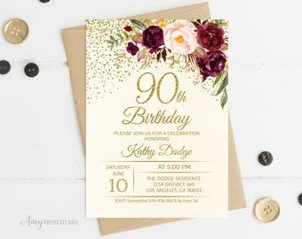 90th birthday invitations etsy 90th birthday invitation floral ivory birthday invitation cream burgundy birthday invite personalized digital file w92 filmwisefo