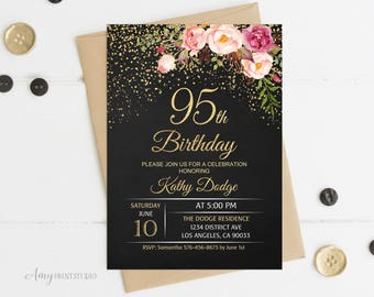 95th Birthday Invitation Floral Women Chalkboard Invite PERSONALIZED Digital File W16