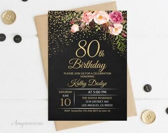 80th Birthday Invitation Floral Women Chalkboard Invite PERSONALIZED Digital File W16