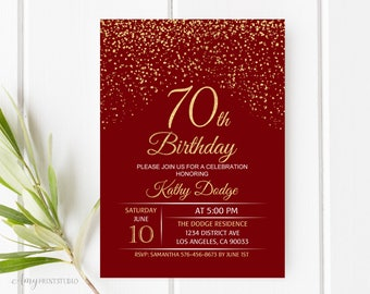 70th Birthday Invitation Red Gold And Invite PERSONALIZED Digital File W86