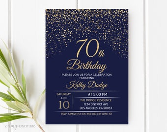 70th Birthday Invitation Navy Gold Blue And Invite PERSONALIZED Digital File W48