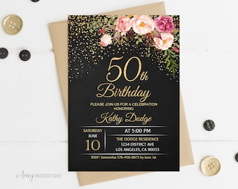 50th Birthday Invitation Floral Women Chalkboard Invite PERSONALIZED Digital File W16