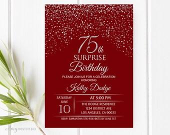 75th Birthday Invitation Silver Red Invite PERSONALIZED Digital File W115