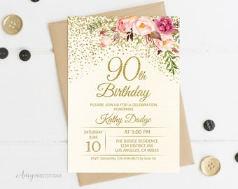 90th Birthday Invitation Floral Ivory Cream Invite PERSONALIZED Digital File W56