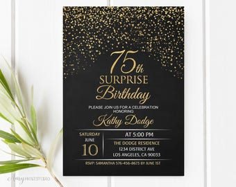 75th Birthday Invitation Gold Chalkboard Invite PERSONALIZED Digital File W15