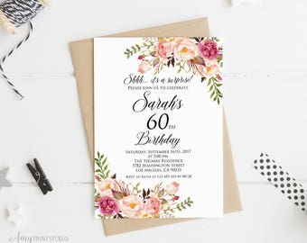 Surprise 60th Birthday Invitation Women Any Age Invite PERSONALIZED Digital File W01