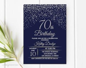 70th Birthday Invitation Navy Silver Blue And Invite PERSONALIZED Digital File W50