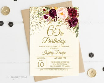 65th Birthday Invitation Floral Ivory Cream Burgundy Invite PERSONALIZED Digital File W92