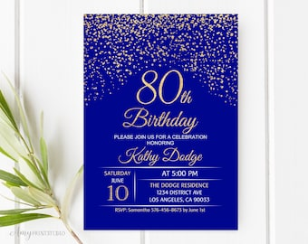 80th birthday invitations etsy 80th birthday invitation royal blue gold birthday invitation blue and gold birthday invite personalized digital file w78 filmwisefo
