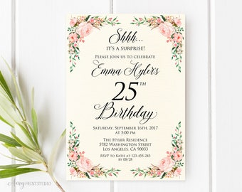 Surprise 25th Birthday Invitation Ivory Floral Any Age Watercolor Cream Invite PERSONALIZED Digital File W66