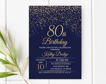 80th Birthday Invitation Navy Gold Blue And Invite PERSONALIZED Digital File W48