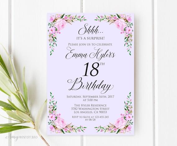 Surprise 18th Birthday Invitation Lavender