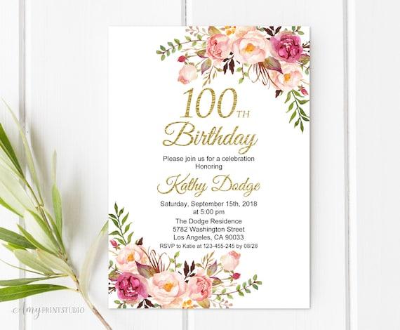 100th birthday invitation floral women birthday invitation etsy