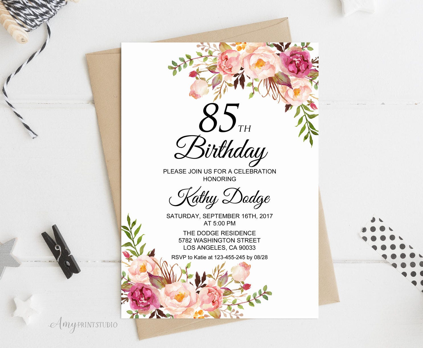 85th Birthday Invitation Floral Women