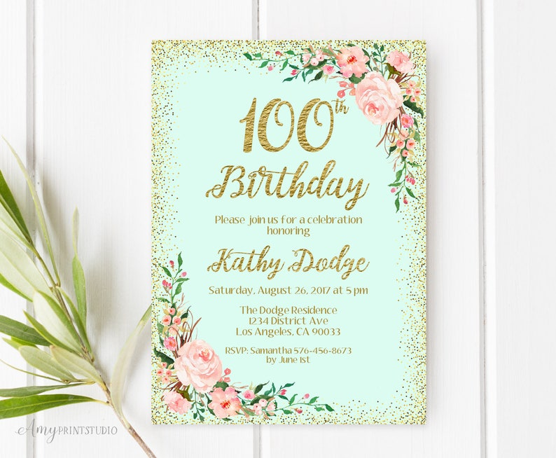 100th Birthday Invitation Floral Any Age
