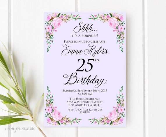 Surprise 25th Birthday Invitation Lavender