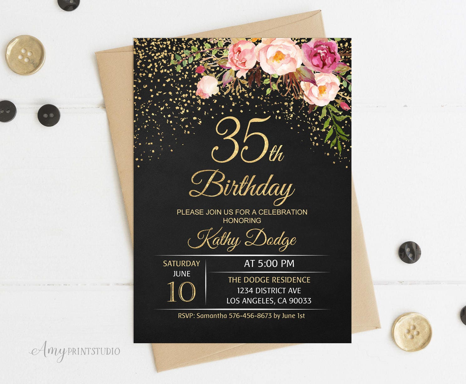 35th Birthday Invitation Floral Women