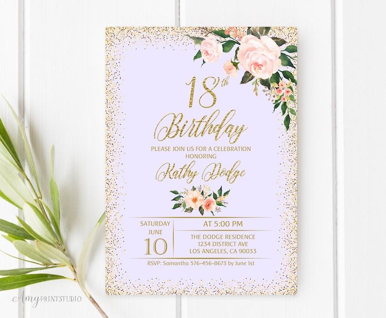 18th Birthday Invitation Floral Birthday Invitation Any Age Etsy