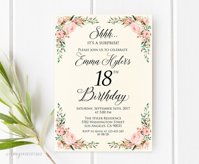 Surprise 18th Birthday Invitation Ivory Floral