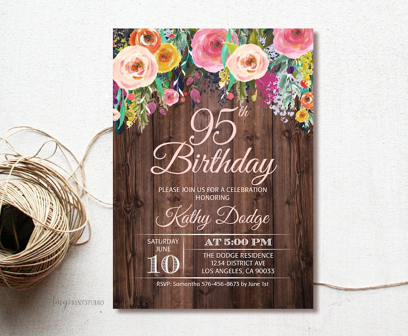 95th Birthday Invitation Rustic Floral Party