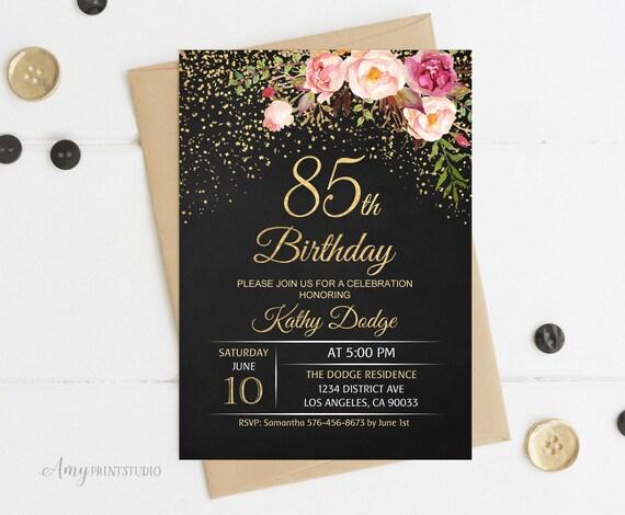 85th Birthday Invitation Floral Women