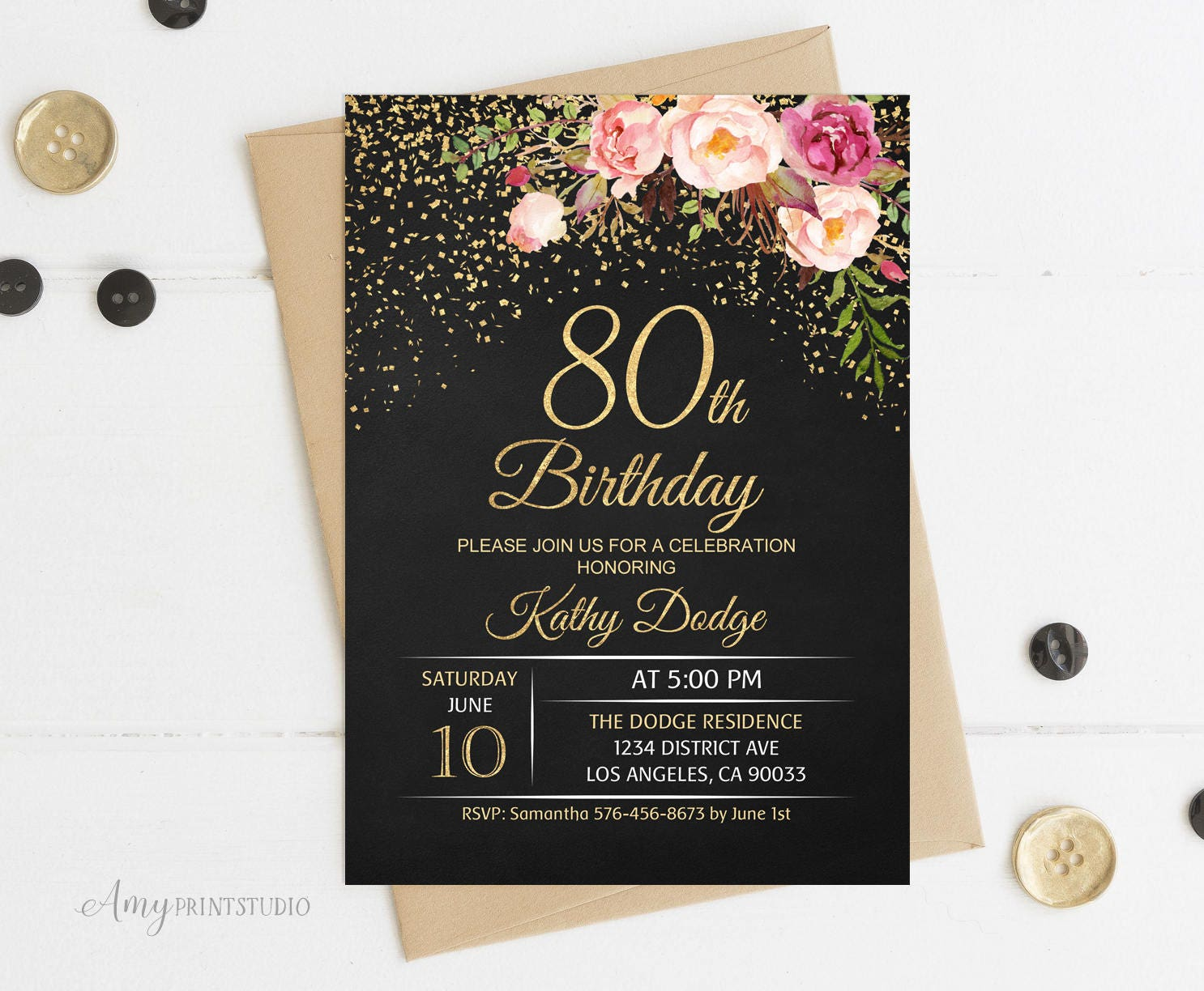 80th Birthday Invitation Floral Women